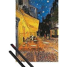 Póster + Soporte: Vincent Van Gogh Póster (91x61 cm) Terraza De Café Por La Noche, Place Du Forum, Arlés, 1888 Y 1 Lote De 2 Varillas Negras 1art1®