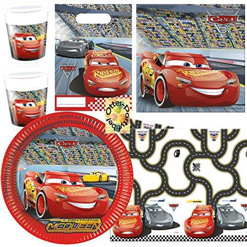 HHO Cars McQueen Partyset 72 Teile Teller Becher Servietten 2 Tischdecken Tüten für 16 Kids
