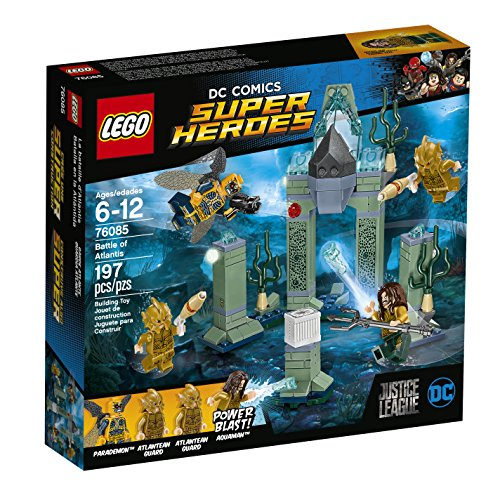 Team up with Aquaman and the Atlantean guards to stop the super-jumping Parademon stealing the Mother Box in this all-action LEGO DC Comics Super Heroes Battle of Atlantis set! The underwater Atlantis scene features a grand arch to knock over with th...