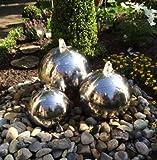 Kugelbrunnen 3er-Set 40/30/20 cm Springbrunnen Komplettset Gartenbrunnen Edelstahl poliert LED