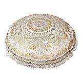 maniona 81,4 cm Gold Ombre Mandala Große Bodenkissen handgefertigt Lounge Sessel Ottoman Kissenbezug mit Spitze indischen osmanischen Pouf rund Kissenbezug