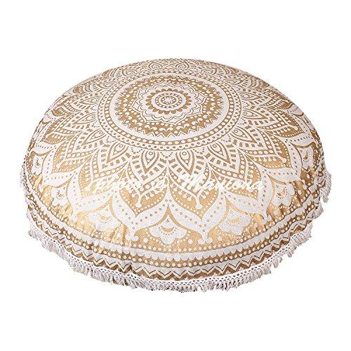 maniona 81,4 cm Gold Ombre Mandala Große Bodenkissen handgefertigt Lounge Sessel Ottoman Kissenbezug mit Spitze indischen osmanischen Pouf rund Kissenbezug (Osmanischen Modernen Outdoor-der)