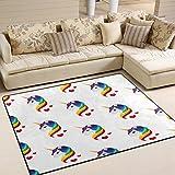 Use7 Hipster Einhornkopf-Teppich, Regenbogen-Teppich, f¨¹r Wohnzimmer, Schlafzimmer, Textil, Mehrfarbig, 203cm x 147.3cm(7 x 5 feet)