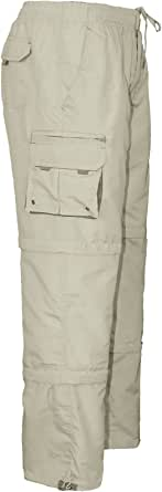 Fashionego Mens 3 in 1 Elasticated Waist Summer Cargo Combat Trousers Lightweight Pants