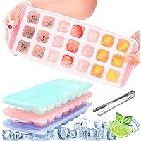 3pcs Bac à Glaçons Silicone, Glaçon avec Couvercle, avec 1 Pince, Ice Cubes Tray, Bac à Glaçons Silicone Bebe, 63 Moules…