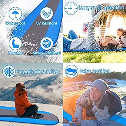 SGODDE Inflatable Sleeping Mat Camping Self Inflating Sleeping Pad with Pillow, Compact Lightweight Mattress Inflatable Roll Up Foam Bed Pads for Outdoor Backpacking Hiking 5