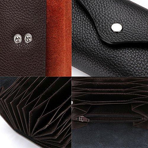 RFID-Karte Halter Leder RFID Geldbörse Schutz Credit Card Holder Tasche Handtasche Geldbörse Portemonnaie (Black) Black