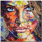 KUNST DRUCK Gemälde Leinwand modern abstrakt Bild 852 Portrait SIGNIERT 60x60