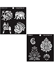 """CrafTreat Stencil - CrafTreat Indian Motifs1 and 2 (2 pcs) 