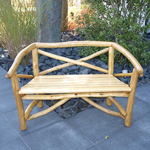 Gartenbank ROSSBACHTAL 2 Sitzer, hochwertiges Eichen Rundholz (Knüppelholz)