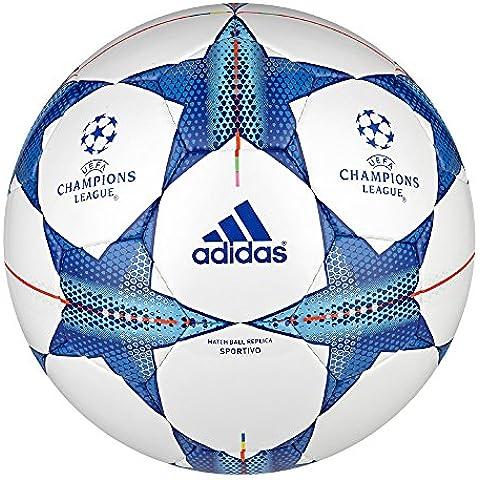 adidas Fin15Sport - Balón de fútbol, color blanco / azul, tamaño 5