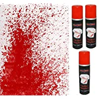 3 x 200ml Halloween Fake Blood Fabric Spray Paint - Theatrical Fancy Dress Halloween Costume - Permanent gruesome look - Swan household ®
