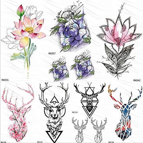 too-Aufkleber 3D Realistische Lotus Pfingstrose Sweet Peas Daisy Tätowierungen Aufkleber Aquarell Tattoo Art Arm Gefälschte Tatoos Blatt ()