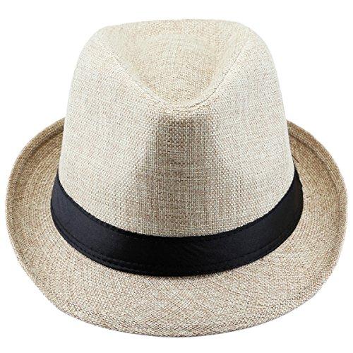 Shanxing Fedora Hut Herren Trilbyhut Panamahut Sonnenhut Hüte Jazz Kappe, 014-Beige, one size (Herren Fedora-hut Beige)