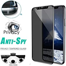BZLine Full Screen Anti-Spion Displayschutzfolie für iPhone XS/XS Max/XR, Privatsphäre gehärtetes Glas,Ultra klar, 9H Superhärte Schutzfolie