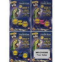 HOOK-EZE - Set di 4 confezioni doppie di ganci, 1 blu, 1 rosa, 1 giallo, 1 colore casuale