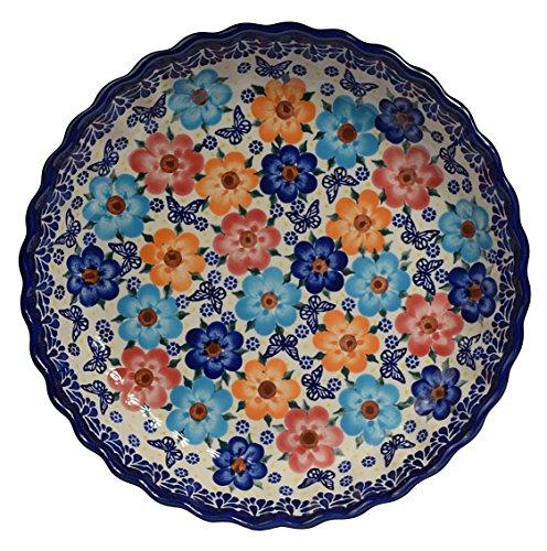 Traditionelle Polnische Keramik, handgefertigte Bräter und Backformen, Tarte- oder Quicheform mit Muster im Bunzlauer Stil, D.25cm O.201.Meadow
