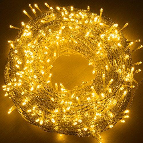 Quntis 500 LEDs 100m Lichterkette, Weihnachtsdeko Strombetrieb mit 8 Modi & Memoryfunktion für Außen und Innen, wasserdicht, Beleuchtung für Xmas,Hochzeit, Geburtstag, Party, Garten -