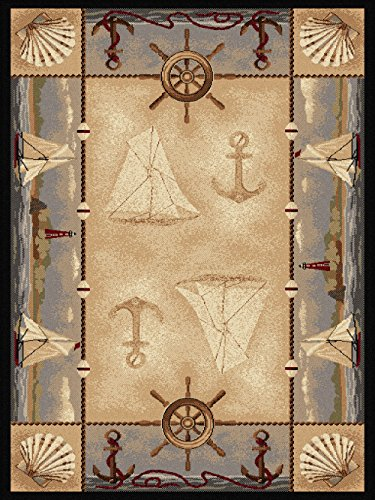 Universal Rugs Seashore náutico Novelty Lodge rectangular Accent alfombra, Beige, 160 x 119 cm