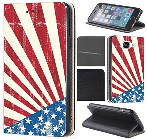 CoverHeld Hülle für Samsung Galaxy S8 Premium Flipcover Schutzhülle aus Kunstleder Flip Case Motiv (140 USA Flagge Blau Weiß Rot) Flagge Cover