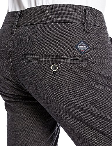 Timezone - Pantalon - Slim Homme Schwarz (black fine check 9085)