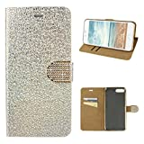 Schutzhülle für iPhone 7 Plus Leder, Hülle iPhone 8 Plus Glitzer, Moon mood Bling Glitzer Ledertasche für Apple iPhone 7 Plus/8 Plus 5.5 Zoll PU Leder Folio Handyhülle Bumper Backcase Handytasche Stand Etui im BookStyle Tasche mit Standfunktion Halter Kreditkarte Slots und mit Diamant Schloss Magnetverschluss Cover mit Überzug Plating Weich TPU Innere