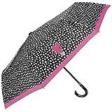 Regenschirm schwarz mit Herzen und rosa Borte - Taschenschirm mit Rundgriff - kleiner, leichter und robuster Schirm - manuelle Öffnung