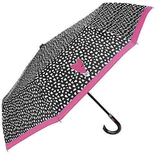 Paraguas plegable de mujer, negro con corazones y borde rosa - Paraguas mini Perletti con mango curvo - Paraguas pequeño, ligero y resistente - Apertura manual