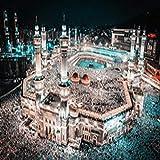 tzxdbh Moderne Print Islam Pilgerfahrt nach Mekka Heilige Moschee Nachtlandschaft auf Leinwand...