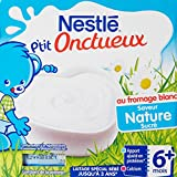 Nestlé Bébé P'tit Onctueux au Fromage Blanc Nature sucré - Laitage dès 6 Mois - 4 x 100g - Lot de 6