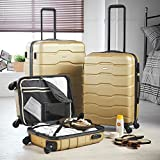 "VonHaus Luggage Set of 3 ABS Lightweight Hard Shell Champagne Gold Suitcase - 4 Wheel 360° Spinner - Cabin Travel Trolley – (21"" 25"" 29"")"