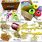 Goelx Silk Thread Jewelery-Making Fully Loaded Box with All Accessories!! - Green, Yellow, Purple and Red - Bangle Size...