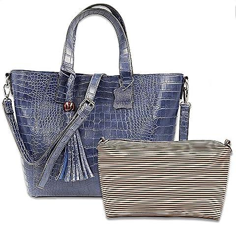 DILER Women's Crocodile Skin Leather Designer Handbags Tote Purse Shoulder Bags In Summer