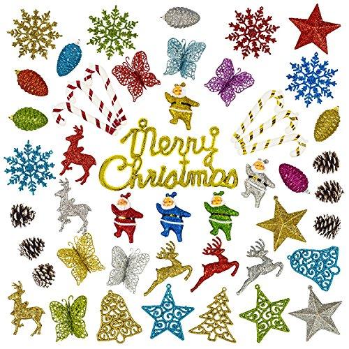 CEP 50Baum-Holiday Home Aufhängen Décor Dekorationen, Ornament Set inkl. Bälle, Tannenzapfen, Sterne, Glocken, Rentiere, Zuckerstangen, Schmetterlingen, Santa 's & Schneeflocken Weihnachts -