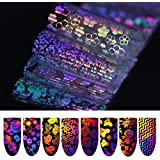 6 (4CM*20CM) Holographic Holo Nail Foil Xmas Geometric Flower Sticker Colored Nail Aart Transfer Foils