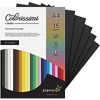 Paper Pep Colorissimi Card Stock 220GSM A4 Nero (Black) Unicolor of 15 Sheets