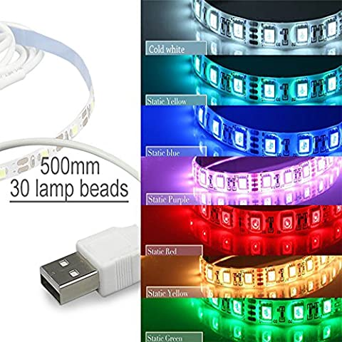 BRIGHTINWD USB LED Strip SMD 3528 Non Waterproof Holiday Lights TV Background (1m, Green)