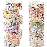 Washi Tape, 18 rollen, bloemenmaskers, Washi Tape, ambachtelijke decoratieve Washi Tape Set voor doe-het-zelf, cadeauverpakki