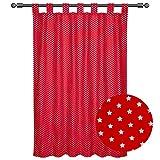 Sugarapple Dekoschal, Gardine, Vorhang (über 35 Farben wählbar) mit Schlaufen aus Baumwolle für Kinderzimmer und Babyzimmer. 2 Schals, Breite 143 cm, Länge 145 cm, Punkte fliegenpilz