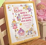Certificato di Nascita da Neonata a Punto Croce, Kit di Ricamo a Punto Croce a Fili Contati, Filo DMC, 144 x 184 Punti, 36 x 43 cm
