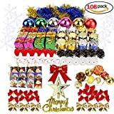 108 pcs Christmas Tree Ornaments Set, Snow crystals, Accessory ball ornaments, pine cones, gift card, wrapped presents and bells - mini Christmas tree ornaments