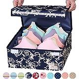 sivin blau faltbar Aufbewahrungsbox BH Unterwäsche Closet Organizer Schublade Trennwand, Mikrofaser, blau, Bra box(can store 6Pcs bras)