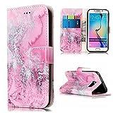 Samsung Galaxy S6 Edge Hülle, Galaxy S6 Edge Schutzhülle,Alfort Lederhülle Marmor Wallet PU Leder Tasche Case Cover für Samsung S6 Edge Smartphone (Rosa Meerwasser)