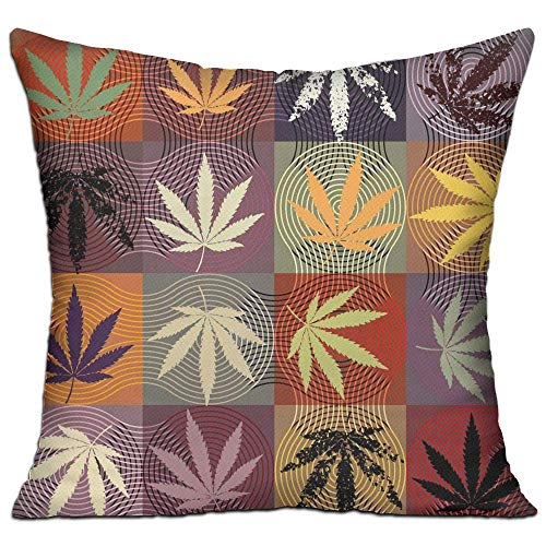 fdgjfghjdfj Hemp Leaves,Pillow Covers Decorative Pillowcase Cushion Covers with Zipper 18x18 Inches