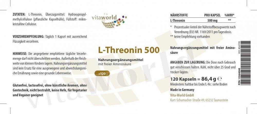 Vita World L-Threonine 500mg 120 Capsules Made in Germany Amino Acid