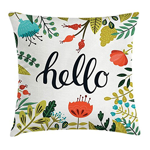 Hello Throw Pillow Cushion Cover, Brush Lettering Designed Calligraphy Print of Hello on Colorful Floral Background, Decorative Square Accent Pillow Case, 18 X 18 inches, Multicolor Floral Print Wedge