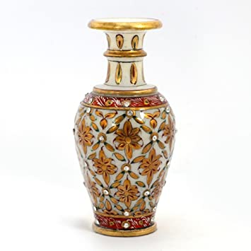 Little India Jaipuri Gold Painting Meenakari Marble Flower Vase (372, White)