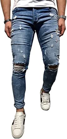 BMEIG Jeans Strappati Uomo Slim Fit Denim Distrutto Skinny Distressed Design Classico Buco Rotto Pantaloni Hiphop Lavoro M-3XL Blu