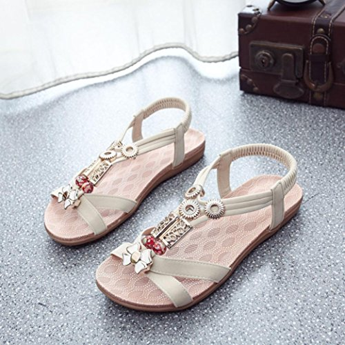 Hunpta Mode Frauen Boho Sandalen Leder Sandalen Damenschuhe Beige