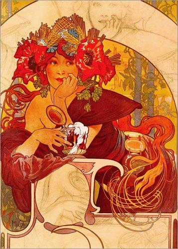 Poster 50 x 70 cm: Bières de la Meuse von Alfons Mucha - Hochwertiger Kunstdruck, Kunstposter